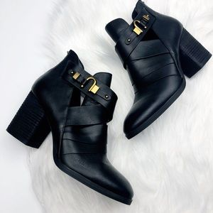 Isola Black Leather Ankle Booties